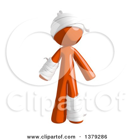 Clipart of an Injured Orange Man - Royalty Free Illustration by Leo Blanchette