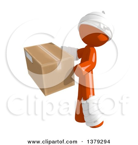 Clipart of an Injured Orange Man Holding a Box - Royalty Free Illustration by Leo Blanchette