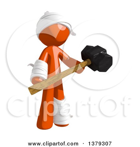 Clipart of an Injured Orange Man Holding a Sledgehammer - Royalty Free Illustration by Leo Blanchette