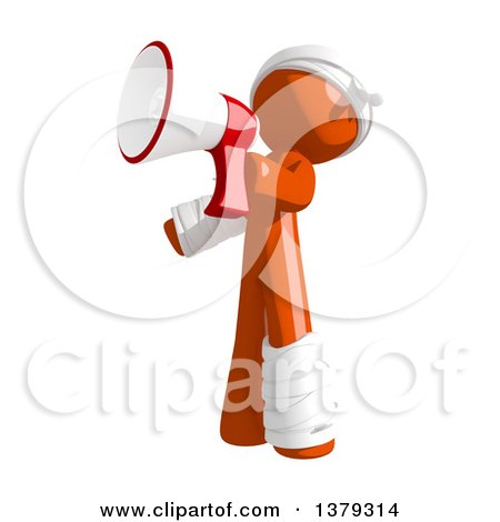 Clipart of an Injured Orange Man Using a Megaphone - Royalty Free Illustration by Leo Blanchette
