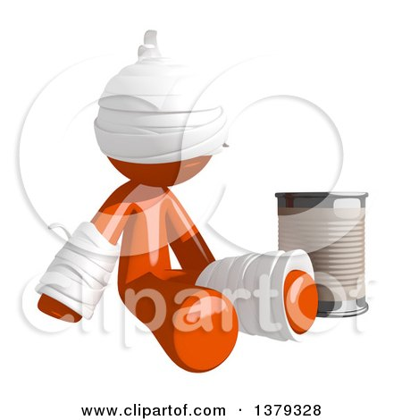 Clipart of an Injured Orange Man Begging with a Can - Royalty Free Illustration by Leo Blanchette