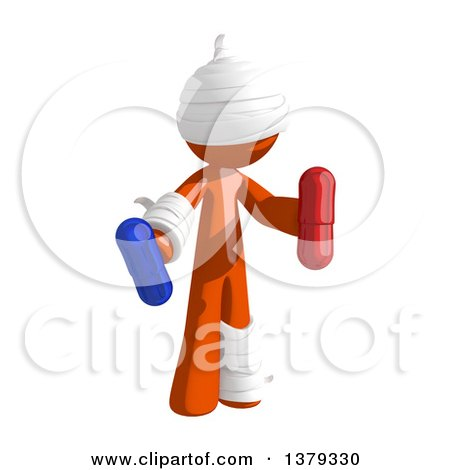 Clipart of an Injured Orange Man Holding Pills - Royalty Free Illustration by Leo Blanchette