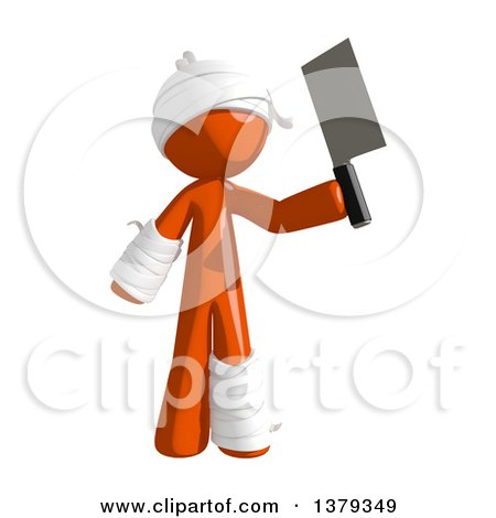 Clipart of an Injured Orange Man Holding a Cleaver Knife - Royalty Free Illustration by Leo Blanchette
