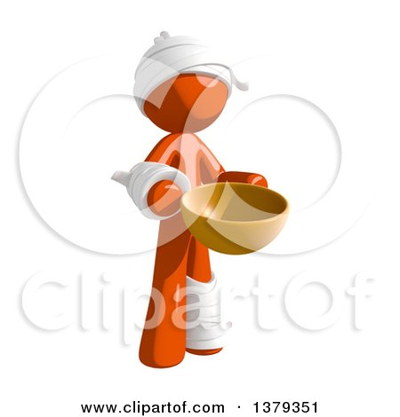 Clipart of an Injured Orange Man Holding a Bowl - Royalty Free Illustration by Leo Blanchette