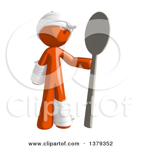 Clipart of an Injured Orange Man Holding a Spoon - Royalty Free Illustration by Leo Blanchette