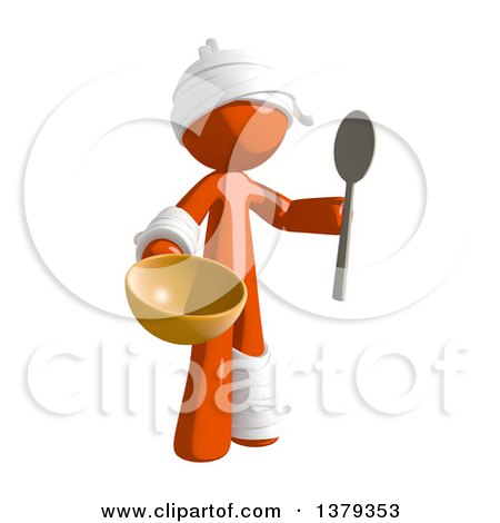 Clipart of an Injured Orange Man Holding a Bowl and Spoon - Royalty Free Illustration by Leo Blanchette