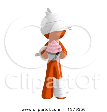 Clipart of an Injured Orange Man with a Cupcake - Royalty Free Illustration by Leo Blanchette