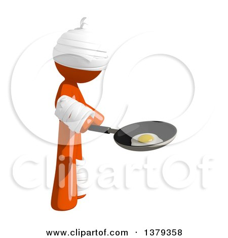 Clipart of an Injured Orange Man Frying an Egg - Royalty Free Illustration by Leo Blanchette