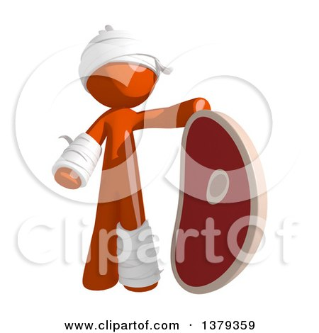 Clipart of an Injured Orange Man with a Beef Steak - Royalty Free Illustration by Leo Blanchette