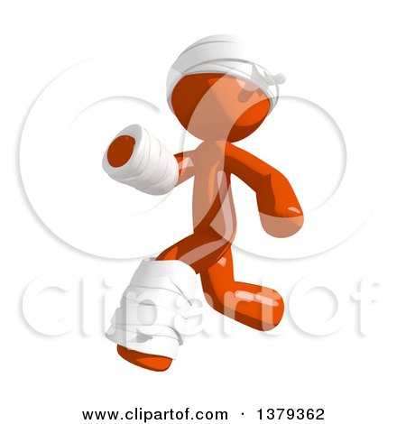 Clipart of an Injured Orange Man Running - Royalty Free Illustration by Leo Blanchette