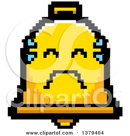 Clipart of a Crying Bell Character in 8 Bit Style - Royalty Free Vector Illustration by Cory Thoman
