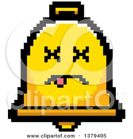 Clipart of a Dead Bell Character in 8 Bit Style - Royalty Free Vector Illustration by Cory Thoman