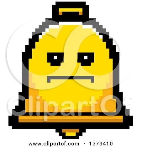 Clipart of a Serious Bell Character in 8 Bit Style - Royalty Free Vector Illustration by Cory Thoman