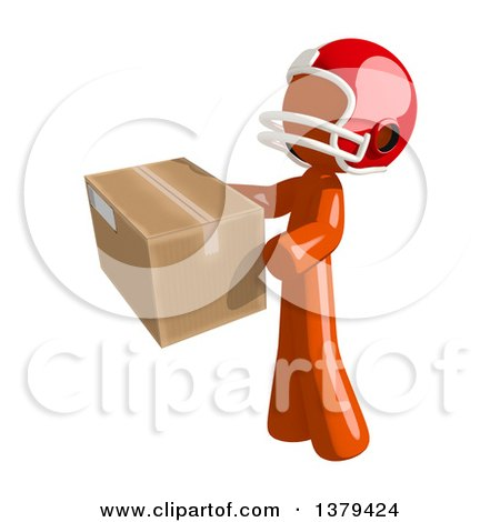 Clipart of an Orange Man Football Player Holding a Box - Royalty Free Illustration by Leo Blanchette