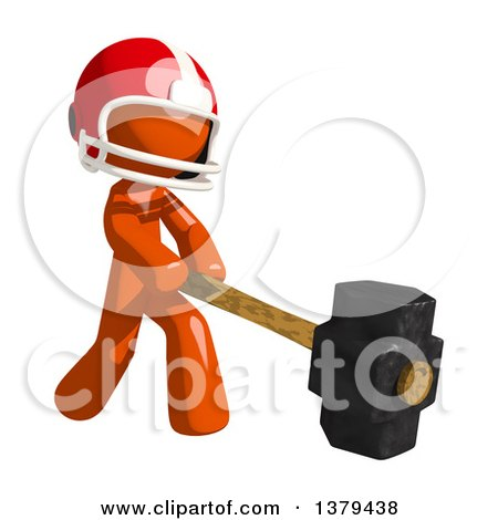Clipart of an Orange Man Football Player Swinging a Sledgehammer - Royalty Free Illustration by Leo Blanchette