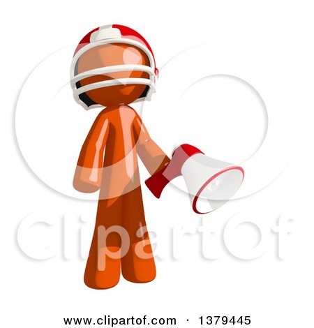 Clipart of an Orange Man Football Player Using a Megaphone - Royalty Free Illustration by Leo Blanchette