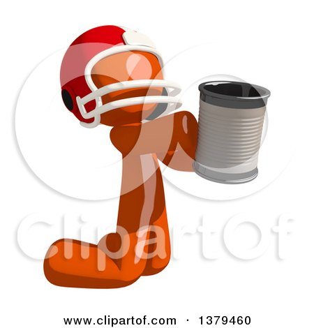 Clipart of an Orange Man Football Player Begging with a Can - Royalty Free Illustration by Leo Blanchette