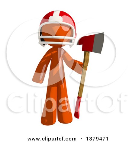 Clipart of an Orange Man Football Player Holding an Axe - Royalty Free Illustration by Leo Blanchette