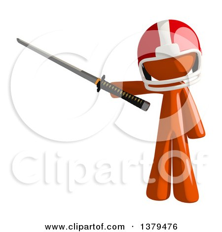 Clipart of an Orange Man Football Player Holding a Katana Sword - Royalty Free Illustration by Leo Blanchette
