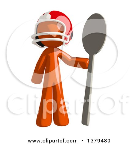 Clipart of an Orange Man Football Player Holding a Spoon - Royalty Free Illustration by Leo Blanchette