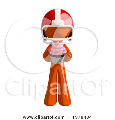 Clipart of an Orange Man Football Player with a Cupcake - Royalty Free Illustration by Leo Blanchette