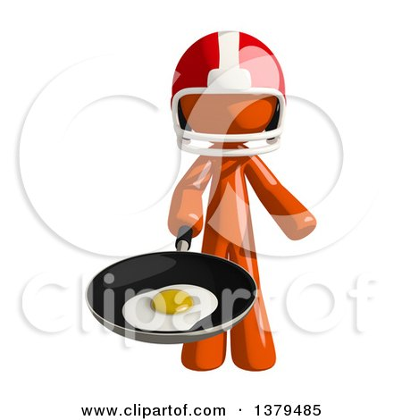 Clipart of an Orange Man Football Player Frying an Egg - Royalty Free Illustration by Leo Blanchette