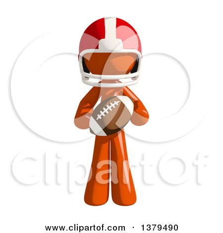 Clipart of an Orange Man Football Player Holding a Ball - Royalty Free Illustration by Leo Blanchette