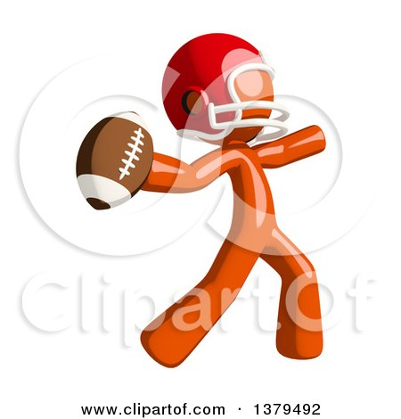 Clipart of an Orange Man Football Player Throwing a Ball - Royalty Free Illustration by Leo Blanchette