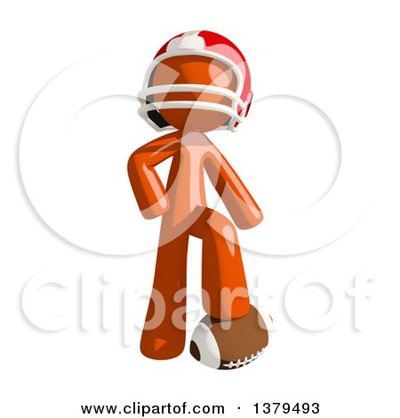 Clipart of an Orange Man Football Player Resting a Foot on a Ball - Royalty Free Illustration by Leo Blanchette