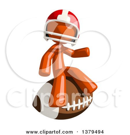 Clipart of an Orange Man Football Player Sitting on a Ball - Royalty Free Illustration by Leo Blanchette