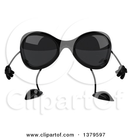 Clipart Of A 3d Sunglasses Character On A White Background Royalty Free Illustration