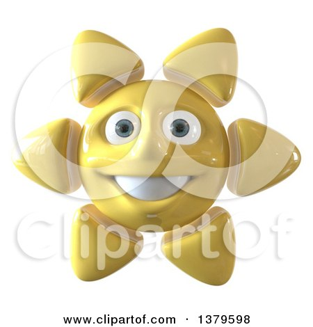 Clipart of a 3d Sun Character, on a White Background - Royalty Free Illustration by Julos