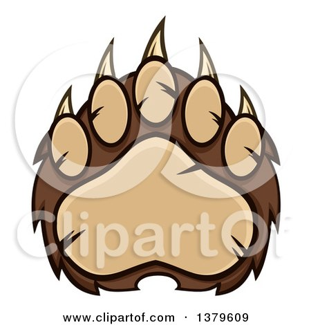 Clipart of a Grizzly Bear Paw - Royalty Free Vector Illustration by Hit Toon