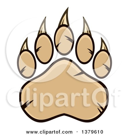Clipart of a Tan Grizzly Bear Paw - Royalty Free Vector Illustration by Hit Toon