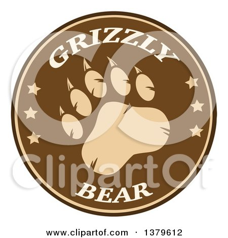 Clipart of a Grizzly Bear Paw with Text on a Brown Circle - Royalty Free Vector Illustration by Hit Toon