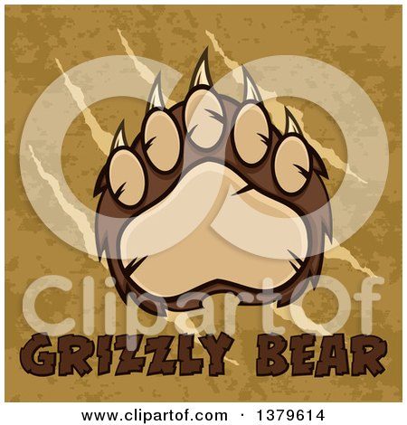 Clipart of a Grizzly Bear Paw over Slash Marks, Text and Texture - Royalty Free Vector Illustration by Hit Toon