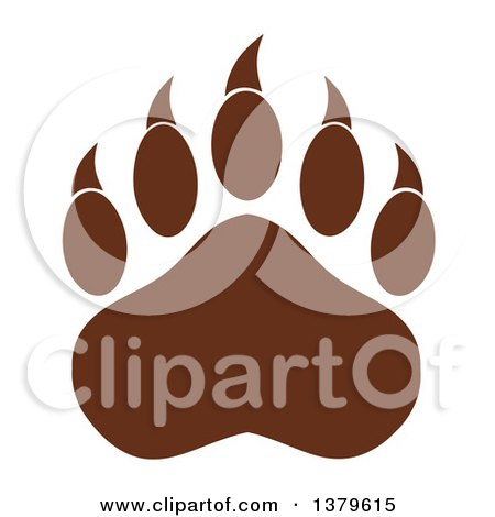 Clipart of a Brown Grizzly Bear Paw - Royalty Free Vector Illustration by Hit Toon
