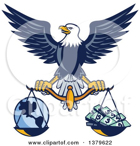 Clipart of a Flying American Bald Eagle Holding a Scale with Earth and Money - Royalty Free Vector Illustration by patrimonio