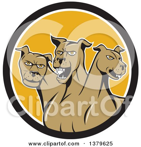 Clipart of a Cartoon Three Headed Cerberus Devil Dog Hellhound Monster in a Black White and Yellow Circle - Royalty Free Vector Illustration by patrimonio