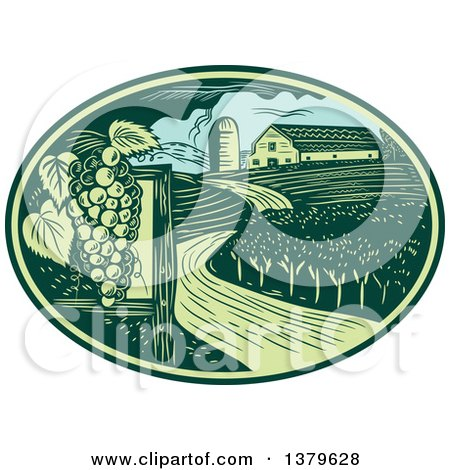 Clipart of a Retro Woodcut Vineyard, Farm and Barn in a Green and Blue Oval - Royalty Free Vector Illustration by patrimonio