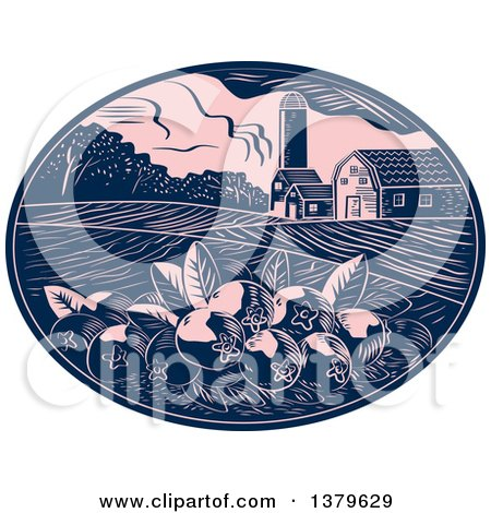Clipart of a Retro Woodcut Cranberry Farm with a Barn, Silo and Crops in a Pink and Navy Blue Oval - Royalty Free Vector Illustration by patrimonio