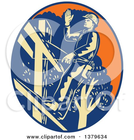 Clipart of a Retro Woodcut Power Lineman Waving in an Orange Yellow and Blue Oval - Royalty Free Vector Illustration by patrimonio