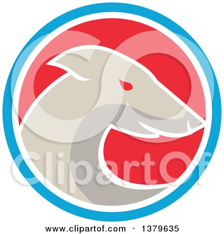 Clipart of a Retro Greyhound Dog in a Blue White and Red Circle - Royalty Free Vector Illustration by patrimonio