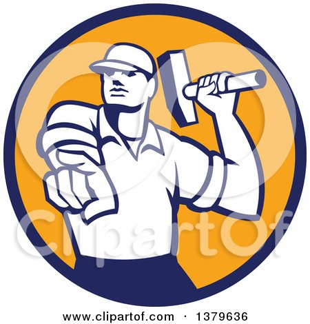 Clipart of a Retro Male Demolition Worker Holding a Sledgehammer and Pointing in a Blue and Orange Circle - Royalty Free Vector Illustration by patrimonio