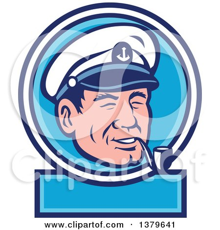 Clipart of a Retro Cartoon Sea Captain Smoking a Pipe in a Blue and White Label - Royalty Free Vector Illustration by patrimonio