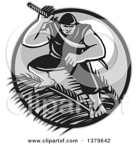 Clipart Of A Retro Grayscale Samoan Ninja With Samurai Sword Over Palm Branches Against A Full Moon Royalty Free Vector Illustration