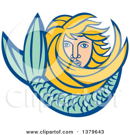 Clipart of a Retro Blond Female Mermaid with Long Hair and a Tail - Royalty Free Vector Illustration by patrimonio