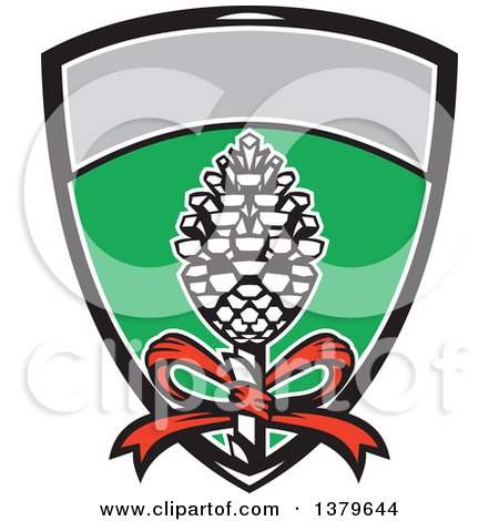 Clipart of Thyrsus, Staff of Giant Fennel, Topped with Pine Cone with Grapevine Leaves in a Shield - Royalty Free Vector Illustration by patrimonio