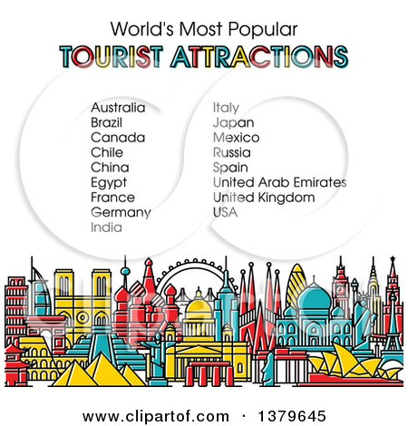 Clipart of the Worlds Most Popular Tourist Attractions in Vibrant Colors, with Text - Royalty Free Vector Illustration by elena