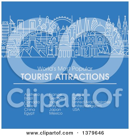 Clipart of the Worlds Most Popular Tourist Attractions in Flat Design, over Blue, with Text - Royalty Free Vector Illustration by elena